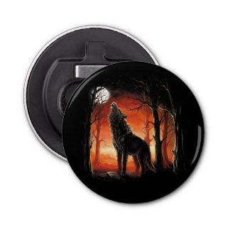 Huilende Wolf bij de Flesopener van de Button Flesopener