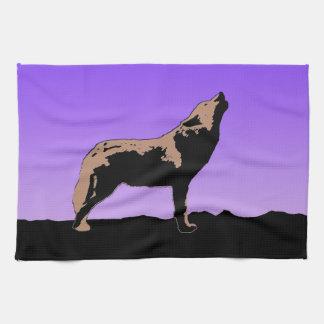 Huilende Wolf bij Zonsondergang Theedoek
