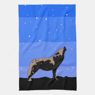 Huilende Wolf in de Winter Theedoek