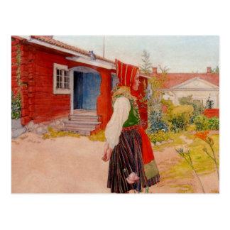 Huis in Falun met Meisje Briefkaart