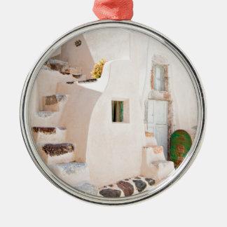 Huis in Santorini Zilverkleurig Rond Ornament
