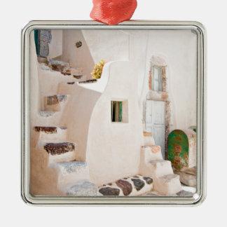 Huis in Santorini Zilverkleurig Vierkant Ornament