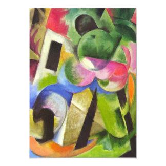 Huis met Bomen door Franz Marc, Vintage Fijn Art. 12,7x17,8 Uitnodiging Kaart
