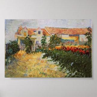 Huis met Sunflowers Van Gogh Fine Art. Poster