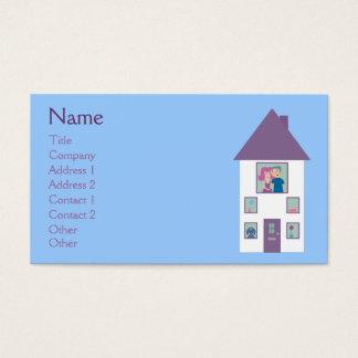 Huis & Paar van de Cartoon van de makelaar in Visitekaartjes