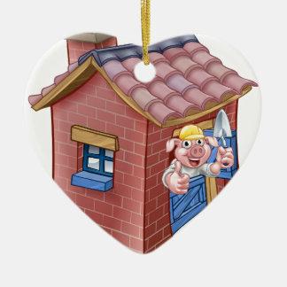 Huis van het Stro van het Sprookje van drie het Keramisch Hart Ornament