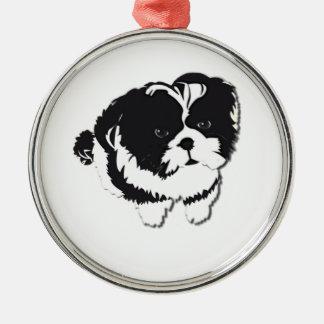 Huisdier van de Hond van Tzu van Shih het Zwarte W Zilverkleurig Rond Ornament