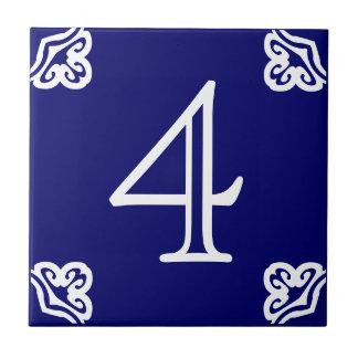 Huisnummer - Spaans Wit op Blauw Keramisch Tegeltje