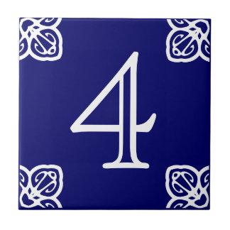 Huisnummer - Spaans Wit op Blauw Tegeltje Vierkant Small