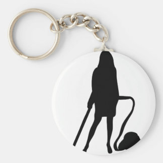 huisvrouw - stofzuiger die - schoonmaken basic ronde button sleutelhanger