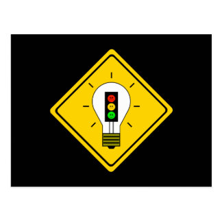 Humeurig Rood licht Lightbulb vooruit Briefkaart