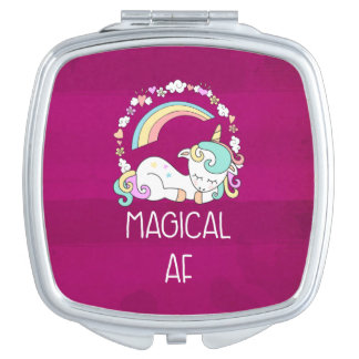 Humoristische Eenhoorn Magische AF op Rozeachtig Makeup Spiegeltje