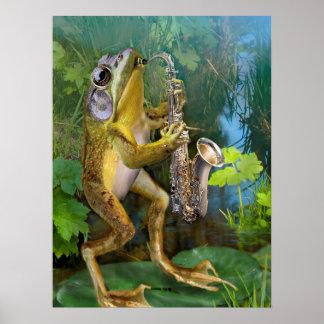 Humoristische Kikker die Saxofoon beoefenen Poster