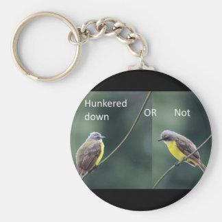 hunkered onderaan of niet vogel sleutelhanger