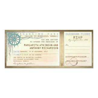 huwelijk die pas-vintage kaartjes met RSVP 10,2x23,5 Uitnodiging Kaart