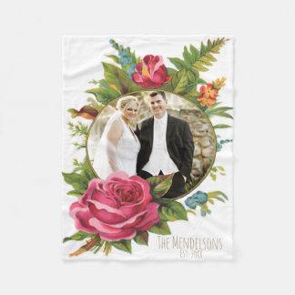 Huwelijk en grens van de paar de bloemenfoto fleece deken