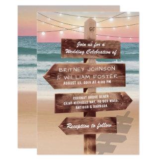 Huwelijk van de Bestemming van het Strand van de 12,7x17,8 Uitnodiging Kaart