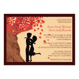 Huwelijk van de Boom van de Harten van het Paar 11,4x15,9 Uitnodiging Kaart