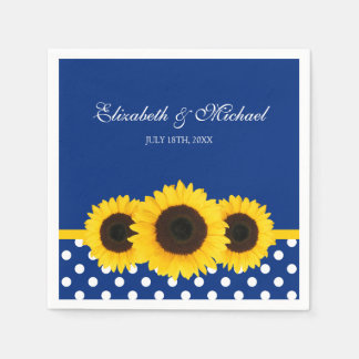 Huwelijk van de Stip van zonnebloemen het Blauwe Wegwerp Servet