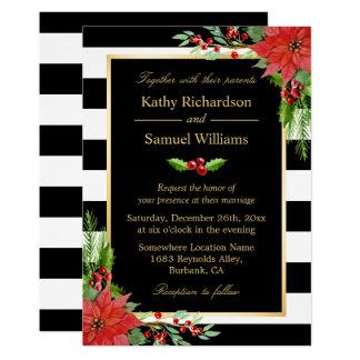 Huwelijk van de Strepen van de Poinsettia van 12,7x17,8 Uitnodiging Kaart