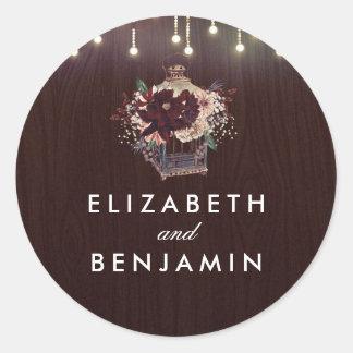 Huwelijk van de Vintage Bloemen van de Lantaarn Ronde Sticker