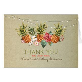 huwelijk van het ananas dankt het tropische strand kaart