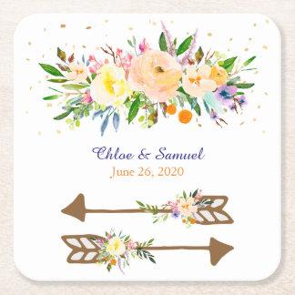 Huwelijk van het Boeket van de perzik het Bloemen Vierkanten Viltjes