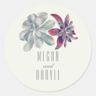 Huwelijk van het Boeket van Succulents het Bloemen Ronde Sticker