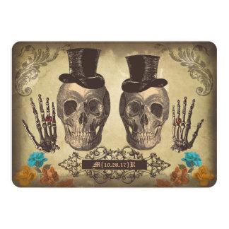 Huwelijk van het paar van de schedel nodigt het 12,7x17,8 uitnodiging kaart