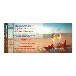 Huwelijk van het Strand van de Kaartjes van de 10,2x23,5 Uitnodiging Kaart