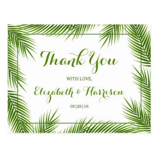 Huwelijk van het Strand van palmbladen dankt het Briefkaart