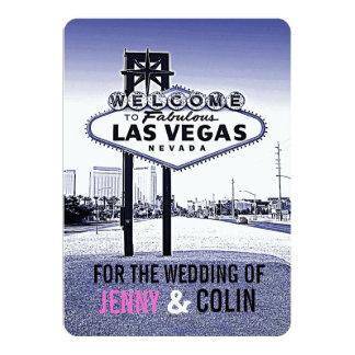 Huwelijk van Las Vegas van de vintage Lavendel 12,7x17,8 Uitnodiging Kaart