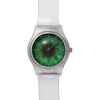 Hypnotic Mooi Donkergroen Oog Horloge