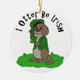 I de Otter Iers is Rond Keramisch Ornament