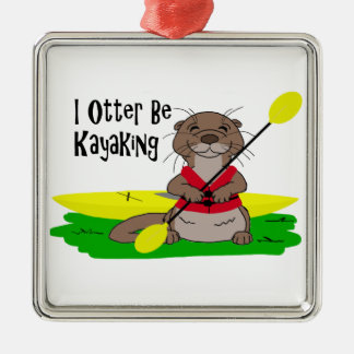 I de Otter is Kayaking Zilverkleurig Vierkant Ornament