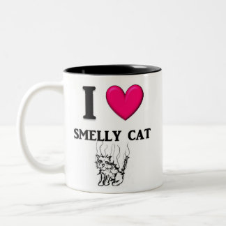 """I de Stinkende Kat van het """"Hart"""" Tweekleurige Koffiemok"""