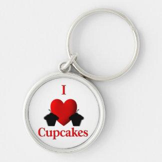 I Hart Cupcakes Zilverkleurige Ronde Sleutelhanger