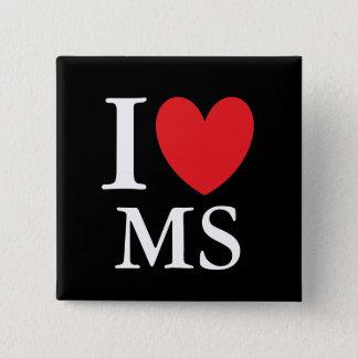 I Hart de Mississippi Vierkante Button 5,1 Cm