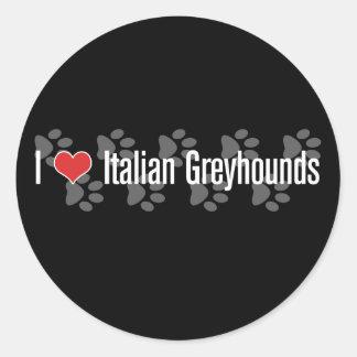 I (hart) Italiaanse Windhonden Ronde Stickers