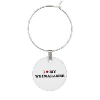I Hart Mijn Charme van de Wijn Weimaraner Wijnglashanger