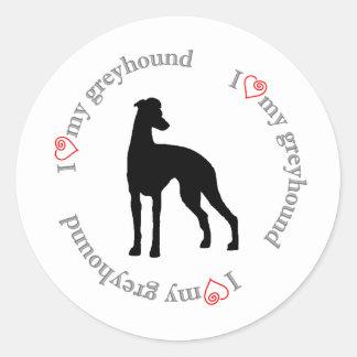 I hart mijn windhond ronde stickers