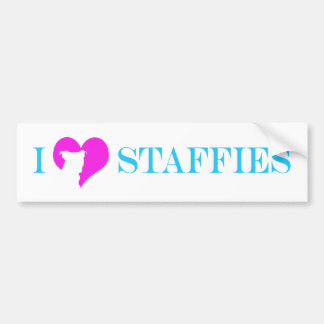 i hart Staffies - de Sticker van de Bumper