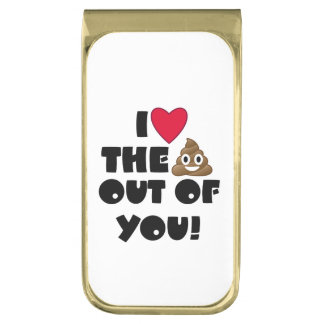 I Hart u Emoji Poo Vergulde Geldclip