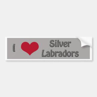 I hart Zilveren Labradors Bumpersticker