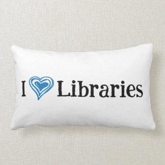 I [Hart] (zwart/blauwe) Bibliotheken Lumbar Kussen