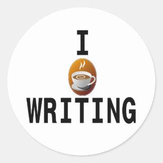I [koffie] schrijvend ronde sticker