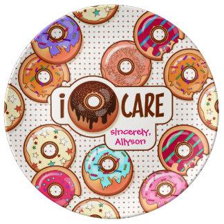 I Liefde Donuts van de Zorg van de Doughnut de Porselein Bord