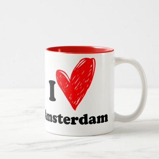 I love Amsterdam Tweekleurige Koffiemok