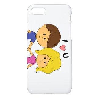 I Luv het Paar van U Chibi - Horizontaal Ontwerp iPhone 8/7 Hoesje