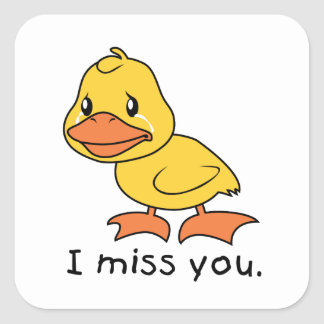 I Misser You Crying het Pet van de Yellow Duckling Vierkante Sticker